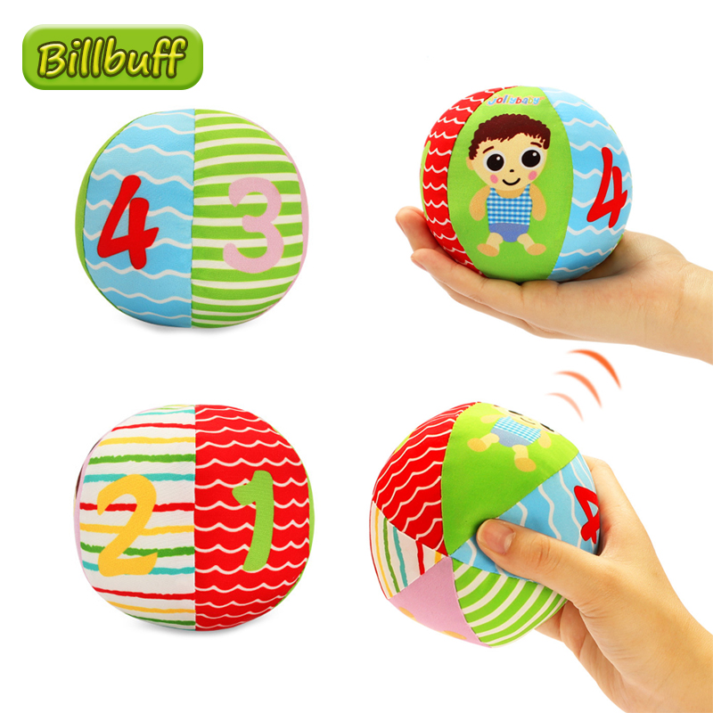 New Baby Toys Cute Animal Ball Soft Plush Mobile Toys with Sound Baby Rattle Infant Body Building Ball Toys for 0-12 Months Gift