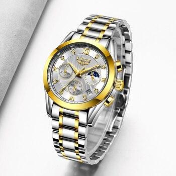 LIGE Fashion Women Watches Ladies Brand Luxury Stainless Steel Calendar Sport Quartz Watch Women Waterproof Watch Montre Femme 2