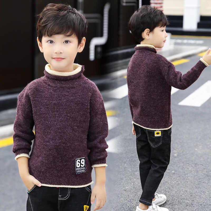 ילדי בגדי בני תינוק סוודר גולף מוצק סריגי סתיו חורף בני חם השפל סרוג סוודר סוודרים 4-12T