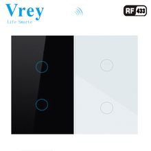 Vrey UNS Standard touch Schalter 2 Gang, Unterstützung RF433 Fernbedienung Smart Wand Schalter, drahtlose fernbedienung touch licht schalter