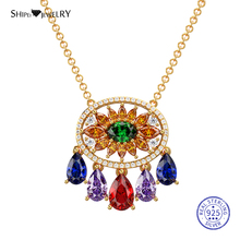 Shipei Multi Gemstone Geometric Necklace for Women 100% 925 Sterling Silver Sapphire Geometric Pendant Necklace Birthday Gift exquisite geometric colored faux gemstone pendant necklace for women