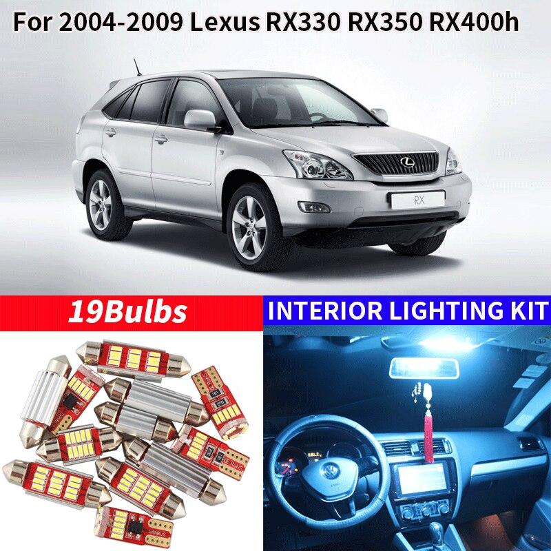 19pcs White Bulb LED Car Light Interior Kit For 2004-2009 Lexus RX330 RX350 RX400h Map Dome Trunk Glove Box Lamp