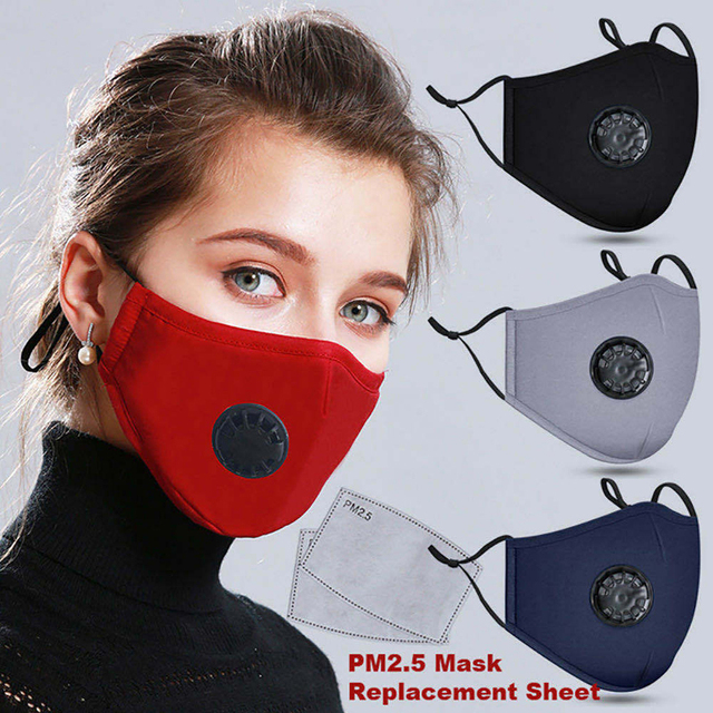 Face Mask Mouth Masks Cotton With Activated Carbon Filter Valve PM2.5 Reusable Washable Respirator Windproof For Men Women Kids 4