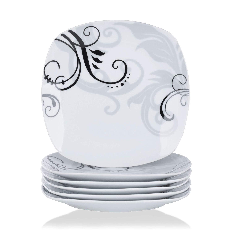 VEWEET ZOEY 6 шт. 9,75 слоновая кость белый керамический набор обеденных тарелок фарфоровые черные наклейки Kithen Салатница набор посуды