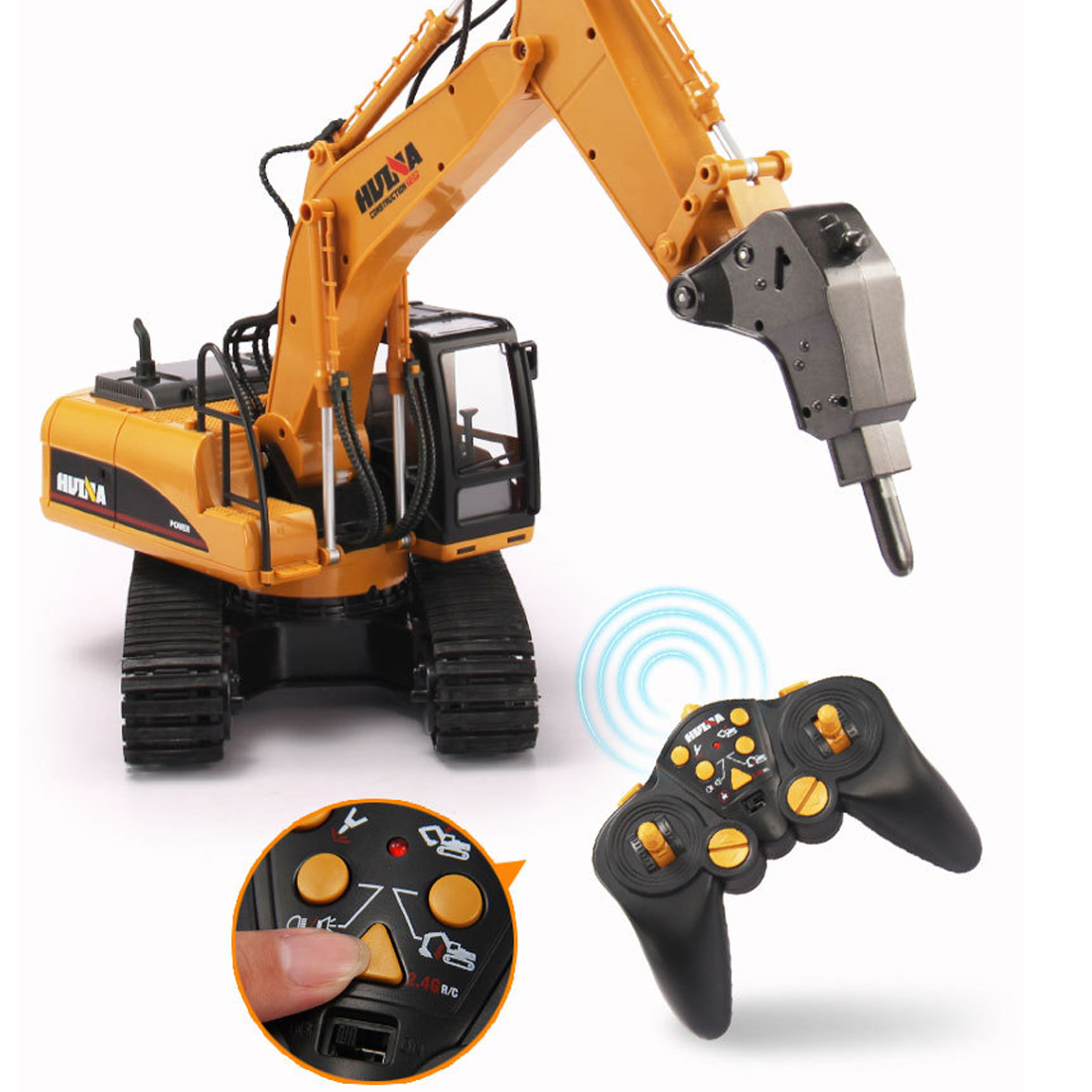2020 1:14 Remote Control 16CH Drilling Hammer Crusher Car Simulation Engineering Vehicle For Children Gift - Main Brown
