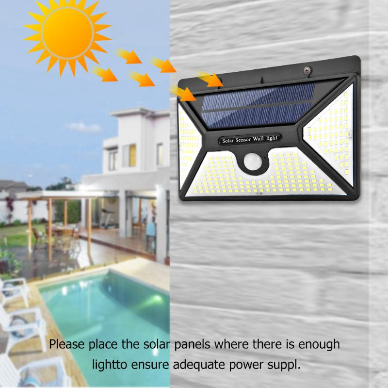 218LED 2000LM Solar Energy Power Lamps Frosted Motion Sensor Wall Light Outdoor IP65 Waterproof Yard Street Lights|Solar Lamps| |  - title=