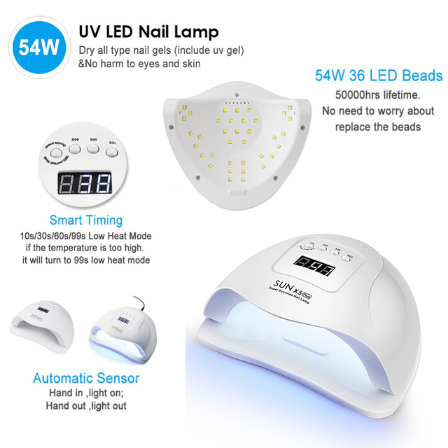 54W UV LED Nail Lamp with 36 Pcs Leds For Manicure Gel Nail Dryer Drying Nail Polish Lamp 30s/60s/90s Auto Sensor Manicure Tools 2