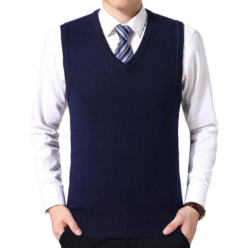 HEFLASHOR 2019 Men Knitting Sweater Vest Solid Color Cashmere Sweaters Sleeveless Pullover Men V-Neck Slim Knitted Waistcoat