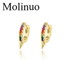 Molinuo new creative awl earrings European and American fashion pop colorful zircon micro-set jewelry 2019
