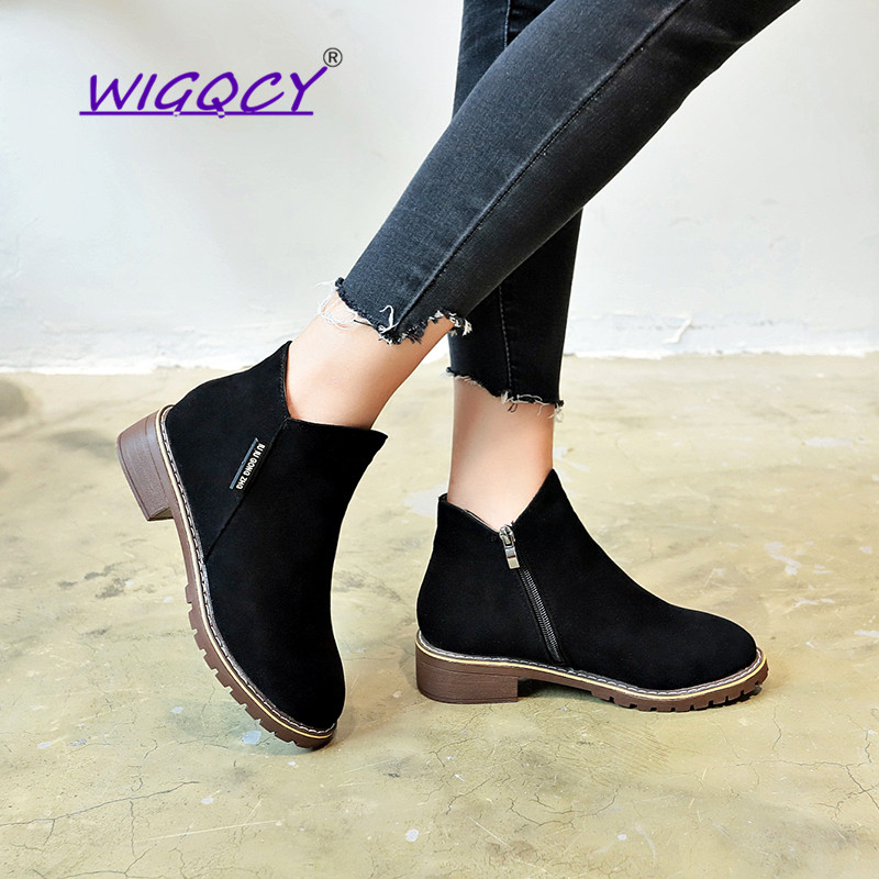 New Hot Fashion Women New Boots Autumn Winter Boots Classic Zipper Snow Ankle Boots Winter Suede Warm Fur Plush Women Shoes