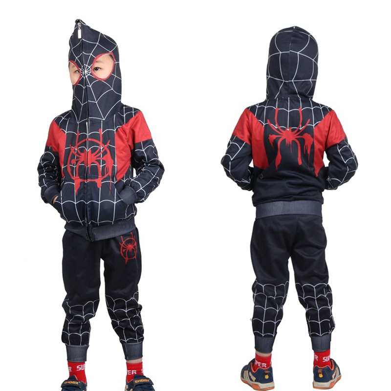 Anime Spider-Man Into the Spider-Verse Cosplay Costumes Miles Morales Spiderman Kids Child Hoodies Hooded Sweatshirt Jackets Top image