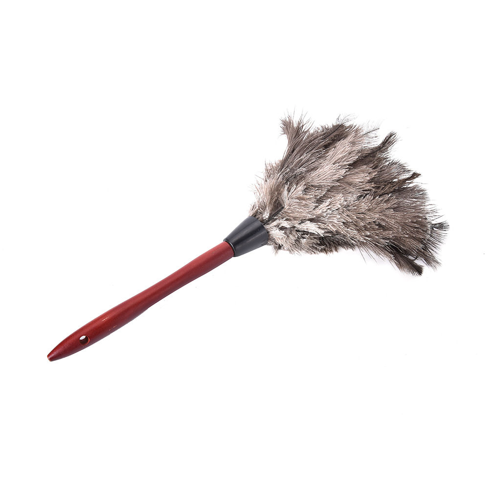 1Pcs Ostrich Fur Feather Duster Brush Anti Static Natural Fall Wood Handle Household Cleaning Car Fan Furniture Dust Cleaner New