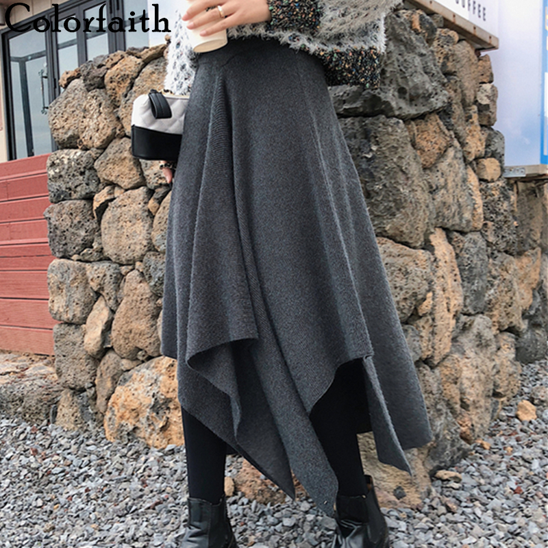Colorfaith 2019 Women Autumn Winter Long Skirt Asymmetrical Casual Korean Style Fashion Ladies Female Elegant Skirt SK7772