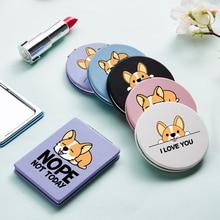 Cartoon Portable Makeup Mirror with Double Side Corgi Dog Magnifying Pocket Cosmetic Compact Vanity Mirrors Espejo De Maquillaje