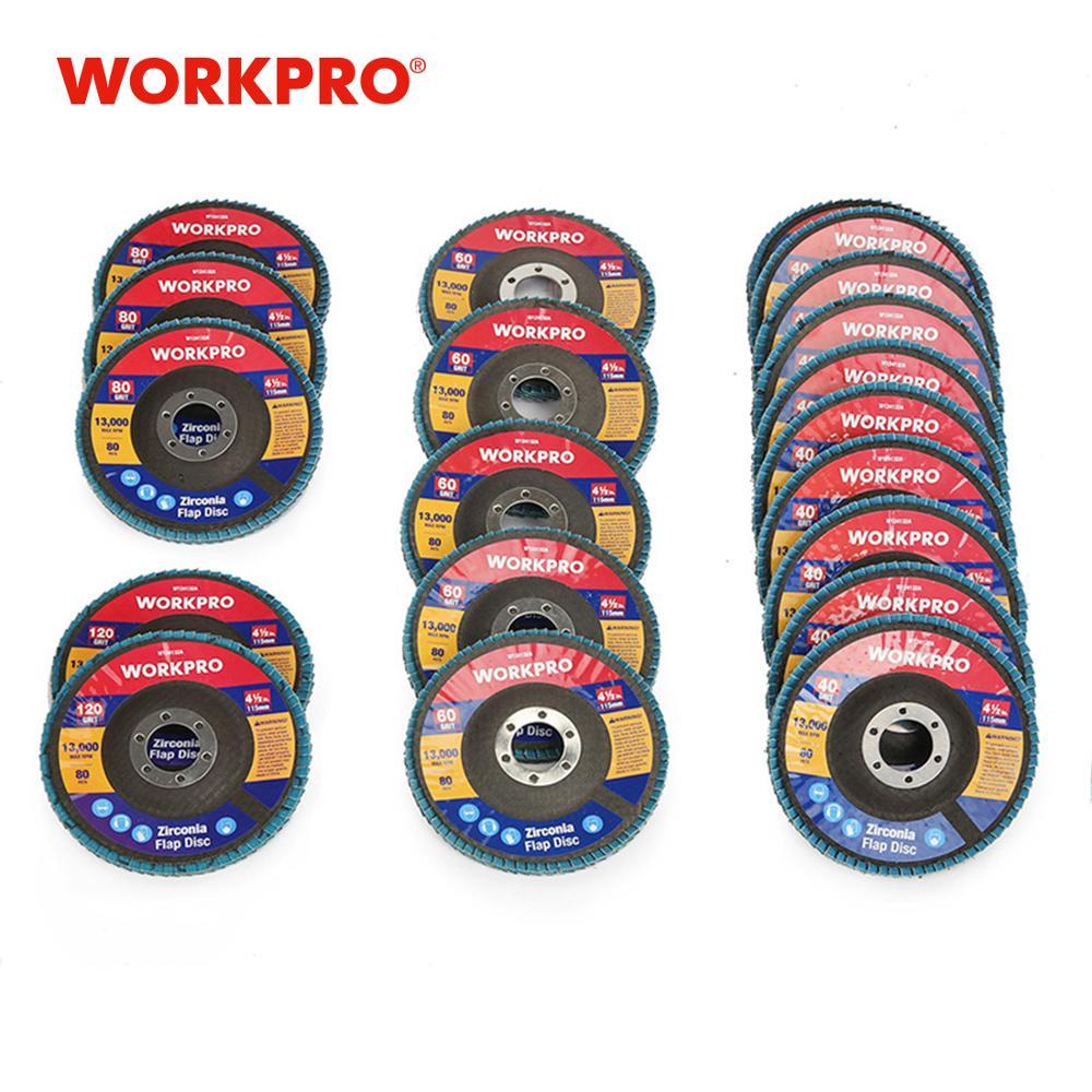 WORKPRO 20PC Flap Discs Sanding Discs Set Multi Grit Flap Disc Set For Angle Grinder