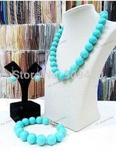 Gratis verzending>>>>> Nieuwe Lady's Sieraden 14mm Turquoise Shell Parel Ketting Earring Armband Sets(China)