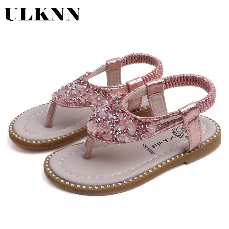 ULKNN 2020 Summer New Girls Rhinestone Thong Sandals Korean Female Baby Princess Shoes Roman Sandals And Slippers