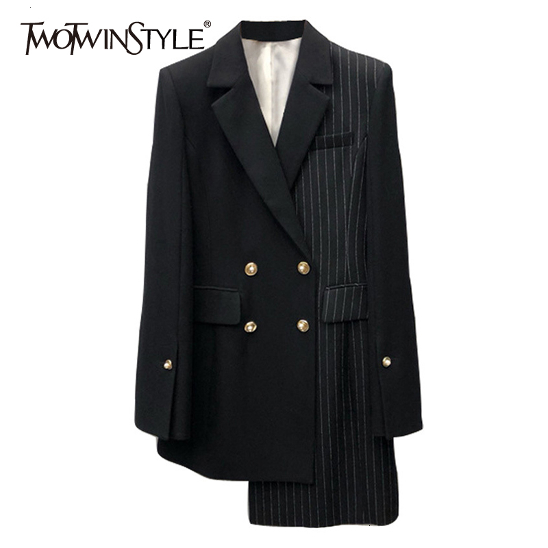 TWOTWINSTYLE Asymmetrical Patchwork Plaid Women's Blazer Notched Long Sleeve Double Button Female Suit 2019 Autumn Fashion New
