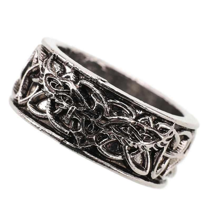 Noorse Mythologie Giant Wolf Fenrir Verdedigen Tempel Raven Amulet Sieraden Vriendje Halloween Gift Mens Viking Ring