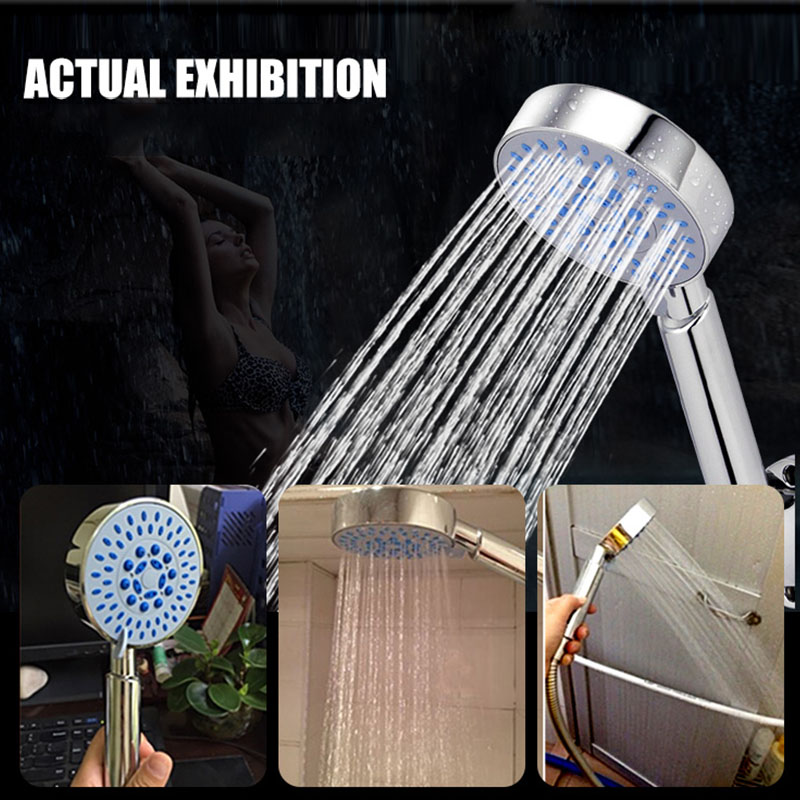 EHEH Five Function Shower Head With Chrome Silica Gel Holes Water Saving Showerhead Rainfall Round Handheld Shower
