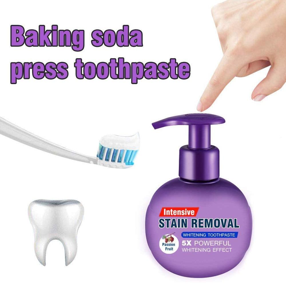 Удаление пятен Сода зубная паста для отбеливания гигиены полости рта уход за зубами Страсть фрукты черника десны пресс тип зубная паста