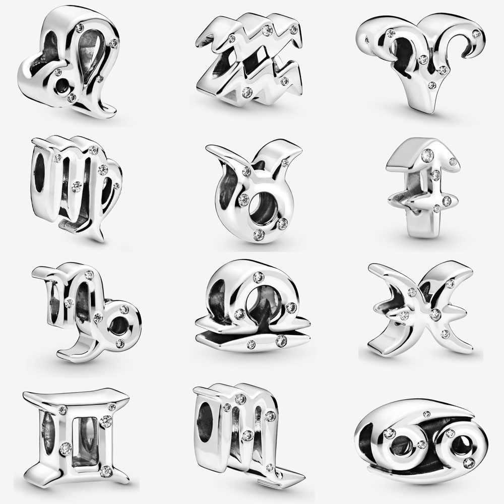 2020 gerçek 925 ayar gümüş 12 zodyak boncuk Charm Fit pandora bilezik güzel koç İkizler Charm DIY takı kadınlar için hediye