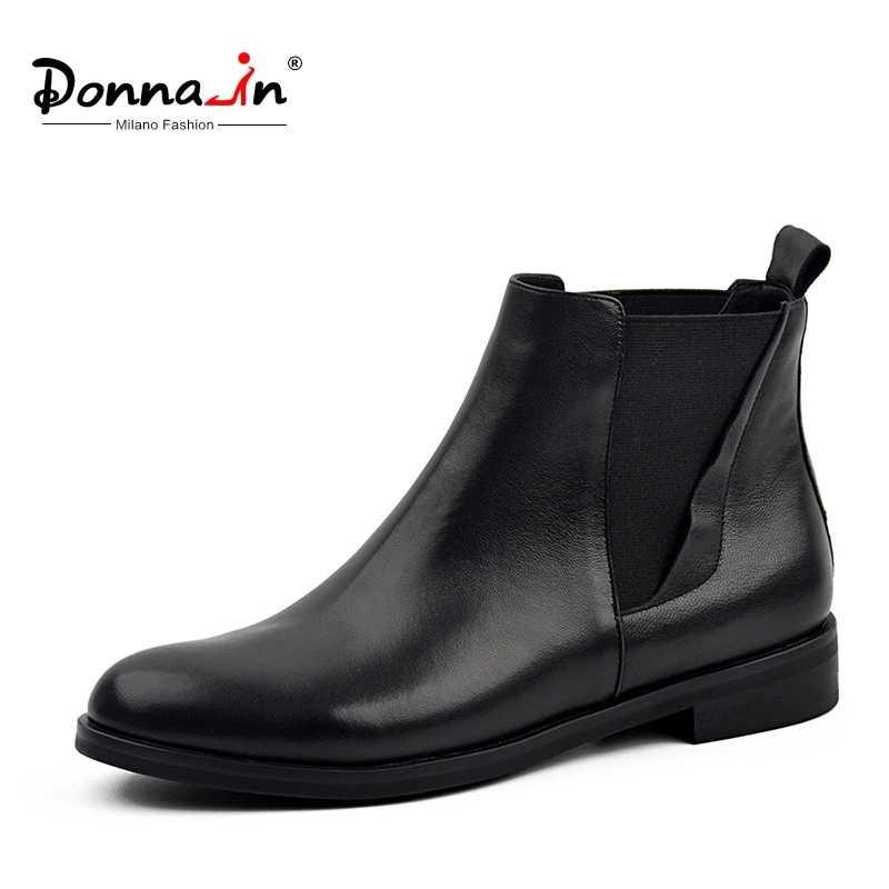 Donna-in Chelsea çizmeler kadın hakiki deri yuvarlak ayak klasik ayak bileği patik düz topuk 2020 sonbahar kış tasarımcı bayanlar ayakkabı