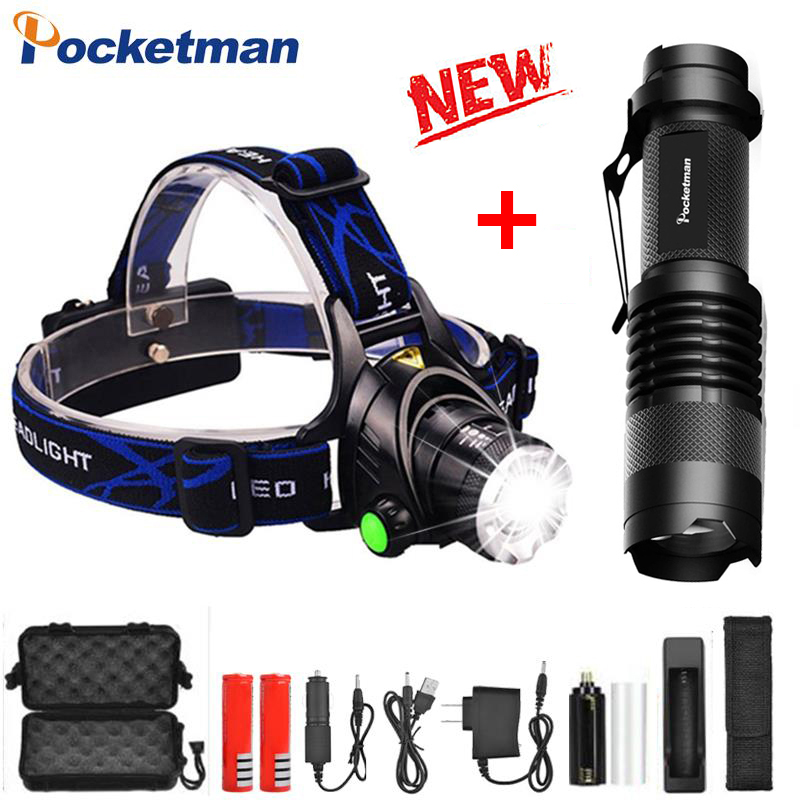 Headlamp Led Rechargeable Head Lamp Running Headlight T6/L2 Zoom Flashlight Head Waterproof Led Headlamp Power By 2* 18650