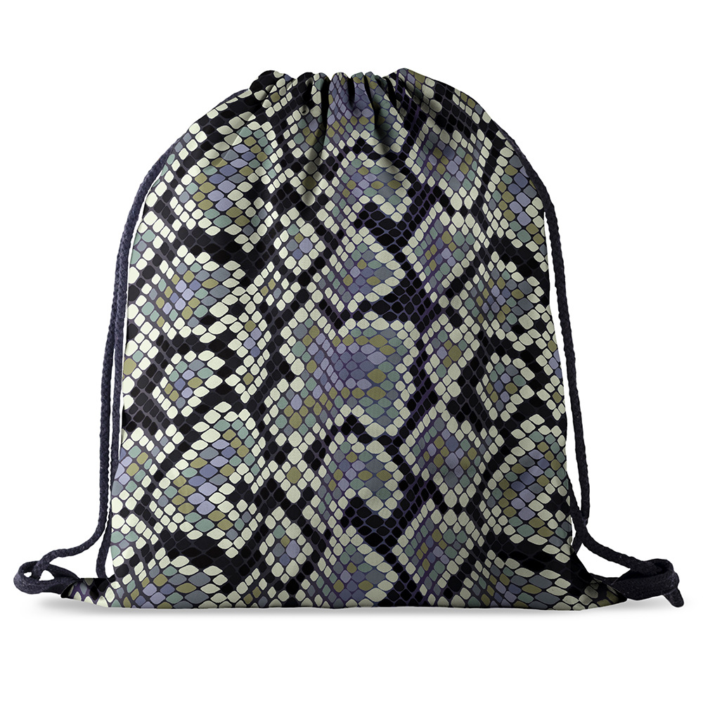 Fashion Drawstring Bag Printing Snake Skin Pattern Drawstring Backpack Women Men Daily Casual Girl's Mochila Knapsack  Feminina