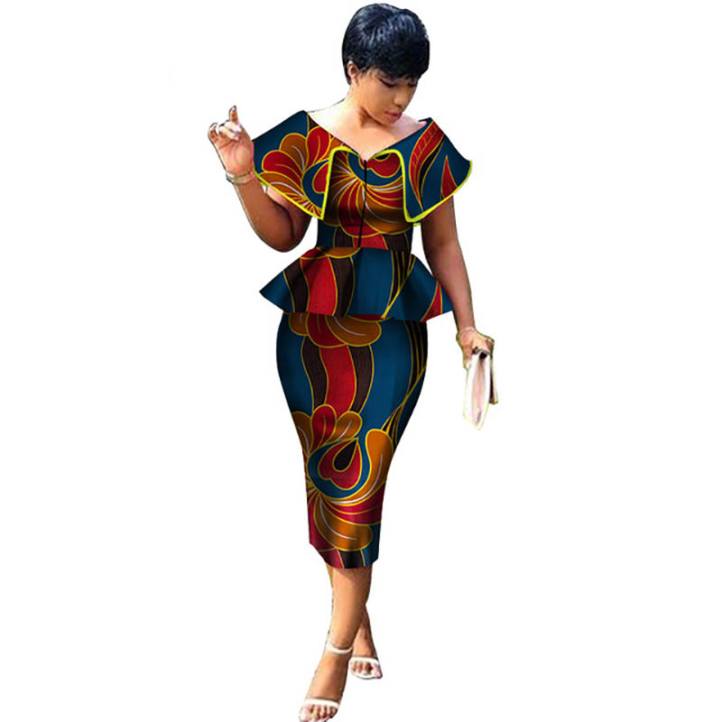 Vêtements africains haut et jupe droite ensembles impression de cire africaine 2 pièces jupe ensembles pour femmes Bazin Riche vêtements de Style africain