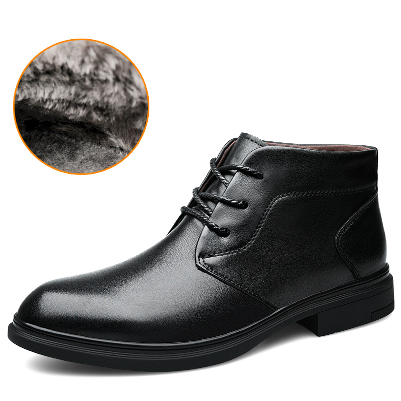 Cow Leather Boots Men Size 37-46 Comfortable Warm 2019 Non-Slip Handmade Winter Shoes #SGM6025