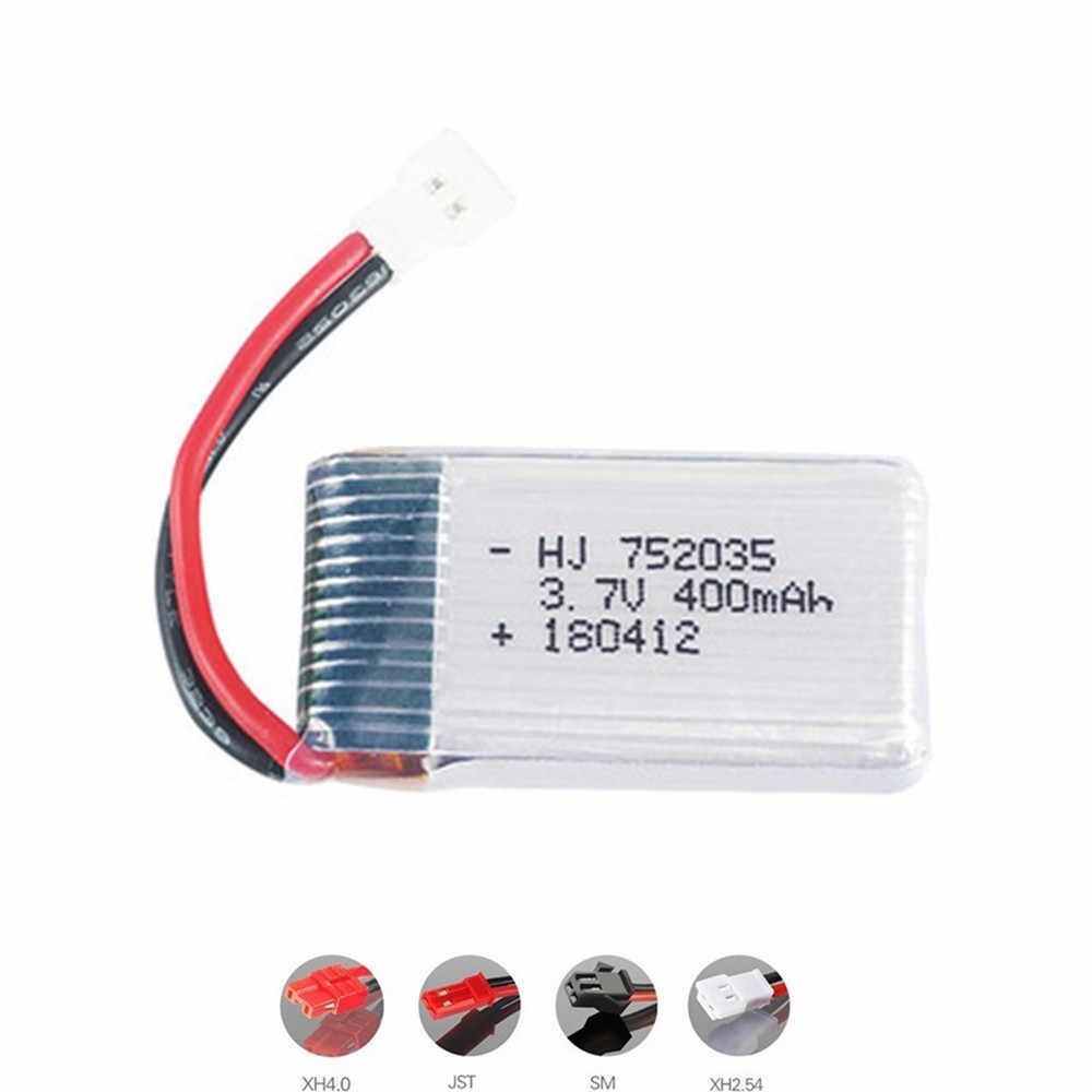 3.7V 400 MAh 752035 Baterai Lipo 3.7V Charger untuk H31 X4 H107 H6C KY101 E33C E33 U816A v252 RC Drone Suku Cadang 1 Pcs 5 PC