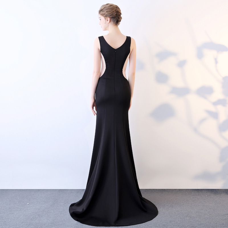 Sexy Clairvoyant Outfit Slim Fit Sheath V-neck Hollow Out Evening Show Work Wear Costume WOMEN'S Dress Long Dinner Party Evening