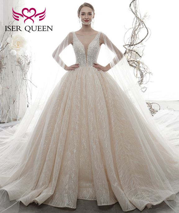 Sexy V Neck Europe Style Wedding Dress 2020 Crystal Beading Top Ball Gown Vintage Lace Bride Dress Princess WX0076