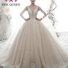 Vestido de novia de estilo europeo con cuello en V sexi vestido de novia con pedrería de cristal de 2020 Encaje Vintage WX0076