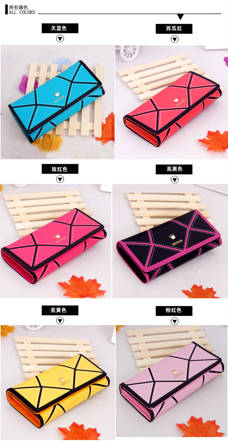 2020 New Korean Version of The Geometric Women's Wallet Crown Color Matching Long Wallet Wallet Mobile Phone Bag