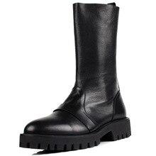 Fashion Brand High Top Mens Genuine Leather Men Mid Calf