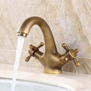 Image 3 - Antique Faucet  Hot and Cold Water Crane Bronze Brushed Sink Faucet Black Bathroom Swan Vintage Basin Sink Mixer Crane 7422