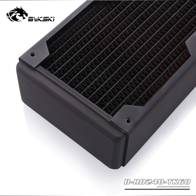 Bykski 60mm Thick 240mm Copper Radiator Computer Water Coolant Discharge Heat Sink Exchanger for 2*12cm Fan Radiator