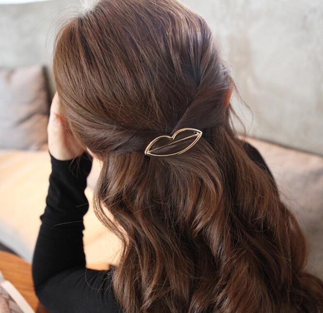 Заколка для волос, женские ножницы, бриллианты, круглые, луна, лист, единорог, сердце, простой, золотой, серебряный, для девочек, модный Подарочный Шарм - Цвет: Gold