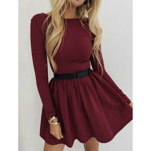 Fashion Womens Casual Midi Swing Long Sleeve Dresses Autumn Spring Vintage