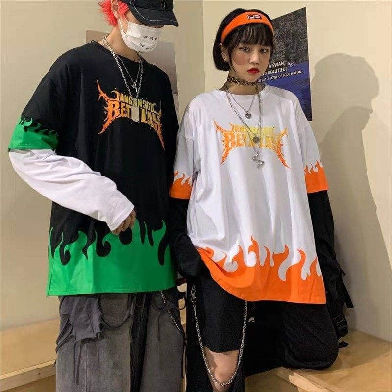 NiceMix Harajuku Flame Print T Shirt Fake 2 Pieces Patchwork Casual Long Sleeve T-shirt Women And Men Streetwear Tops