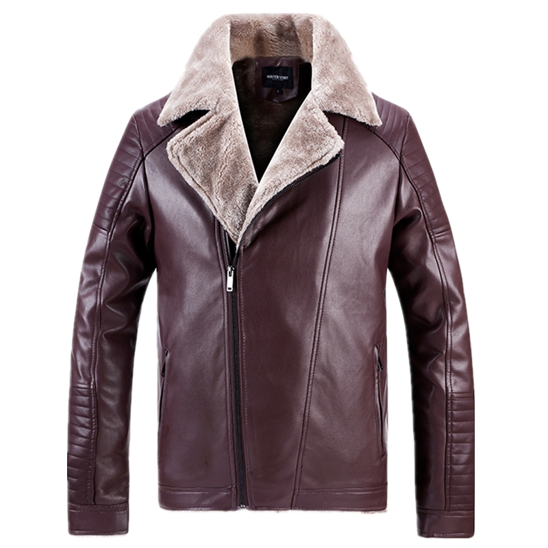 AIOPESON Fleece Leather Jackets Men Casual Fashion Slim Fit Warm PU Motorcycle Jacket Men New Winter Fur Collar Mens Jackets