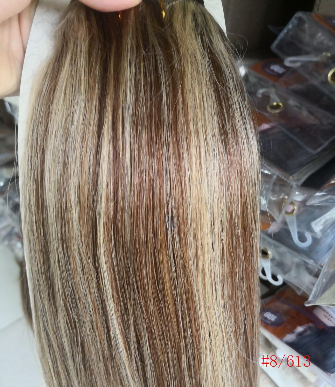 Chocola, бразильские волосы remy на всю голову, 10 шт. в наборе, 280 г, 16-28 дюймов, натуральные прямые человеческие волосы для наращивания на заколках - Цвет: 8 mix 613