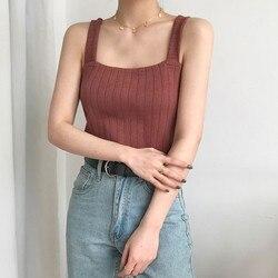 Top cropped sensual feminino, blusa feminina sem mangas regata coreana streetwear roupas de cor sólida para mulheres