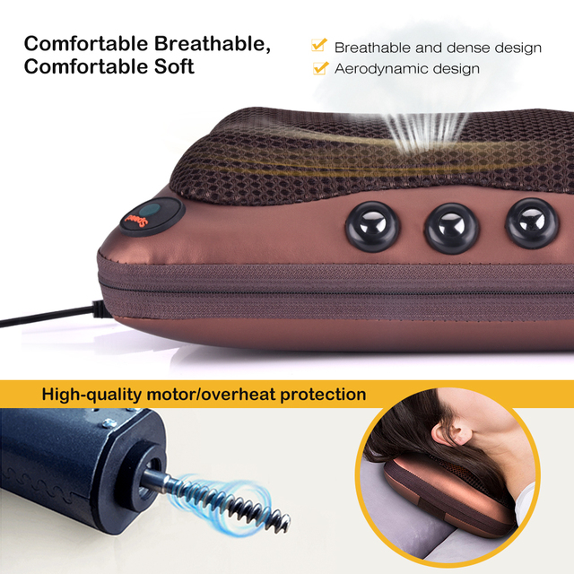 Relaxation Electric Head Neck Massager Pillow Vibrator Shoulder Back Heating Car Home Use Infrared Therapy Shiatsu
