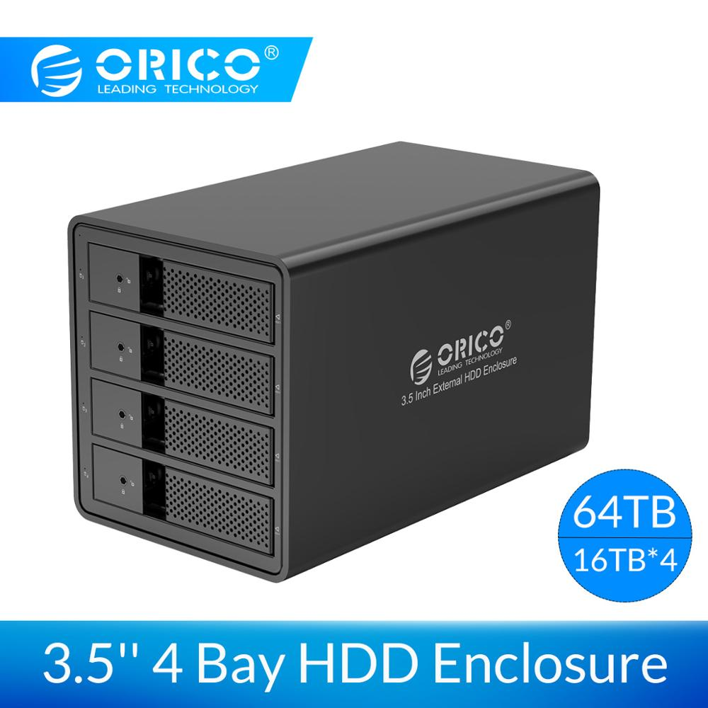 ORICO Aluminum 4 Bay 3.5 Inch HDD Case USB3.0 To SATA  HDD Enclosure Support 64TB HDD Docking Station For Laptop PC