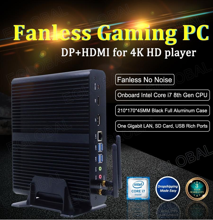 Eglobal Fanless Mini PC Intel Core I7 7500U Windows 10 Micro Computer SD Card DP HDMI 4K Display Wireless Wifi 4 USB3.0