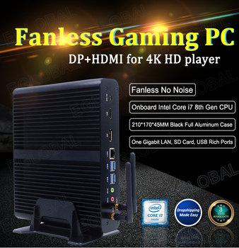 цена на Eglobal Fanless Mini PC Intel Core i7 7500U Windows 10 Micro Computer SD Card DP HDMI 4K Display Wireless Wifi 4 USB3.0