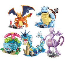 5pcs/set Pokemon Figures Charizard Venusaur Blastoise Pikachu Poke Elf Dolls Pocket Monsters Detective Building Blocks Creator lno 217pcs charizard pokemon building block